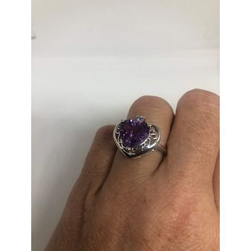 Vintage purple Amethyst Heart Ring 925 Sterling Silver gothic SIze 7