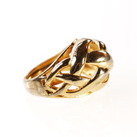 Vintage Domed Cocktail Ring, Huge Chunky Braided Knot, Gold Tone Metal, SIZE 8, 1960s Mad Men Modernist Jewelry