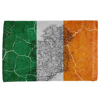 St Patrick's Day Vintage Irish Map Flag Distressed All Over Hand Towel