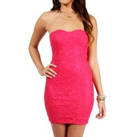 SALE-Fuchsia Strapless Lace Dress