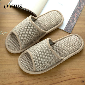QICIUS 2017 Natural Flax Home Slippers Indoor Floor Shoes Silent Sweat Slippers For Summer Women Sandals Slippers T0156