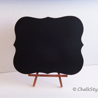 Chalkboard WITH STAND Rectangular Scroll Sturdy Wooden Chalk Board  Wedding Menu Sign Photo Prop Table Centerpiece Easel Included