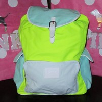 Victoria's Secret PINK Backpack White Trim Multi Neon Color Canvas School Handbag Backpack Book Bag Tote-Sold Out