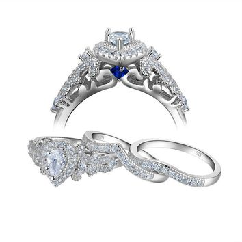 Newshe 2017 New Arrival 1.3 Ct Pear Shape AAA CZ 925 Sterling Silver 3 Pieces Ring Set For Women Fashion Jewelry Gift Size 5-10