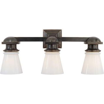 Visual Comfort and Company SL2153BZ-WG Bronze New York Subway Triple Light Fixture