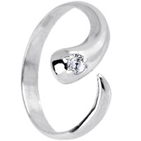 Sterling Silver 925 Cubic Zirconia SOLITAIRE FLARE Toe Ring - Size 5 | Body Candy Body Jewelry
