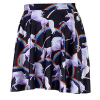 Prancing Rainbow Unicorn Skater Skirt