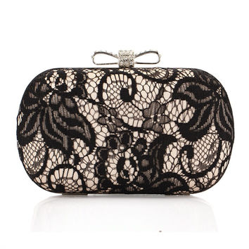 Casual Rhinestone Bowknot Black Lace Clutch Bag