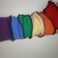 CASHMERE fingerless gloves, cashmere armwarmers, cashmere gloves 18 inch rainbow cashmere