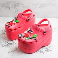 Balenciaga Red Foam Platform Sandals Crocs Charms Embellished Resin Wedge Clogs With Spikes