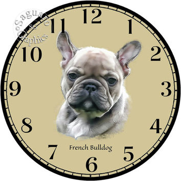 """French Bulldog Puppy Simplify Drawings Art -DIY Digital Collage - 12.5"""" DIA for 12"""" Clock Face Art - Crafts Projects"""