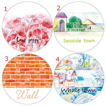 Poppy Whale Town Wall Seaside Town Washi Paper Tape Deco Tape  Planner Washitape Kawaii Office Adhesive Tape