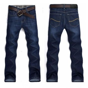 MYWEIBO men jeans 2017 Classical Straight Slim fashion Men Jeans Dark Blue Jeans Mens amy105