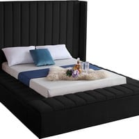 Kiki Black Velvet Queen Bed