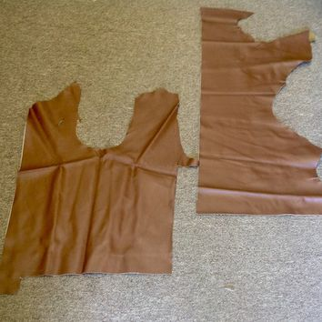 ZI15. Package of 2 Brown Leather Cowhide Remnants