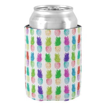Colorful pop art painting pineapple pattern can cooler