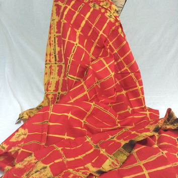 Made in Kenya--African Tie Dye Fabric--African Batik Fabric--Chili Red and Yellow Tie Dye/Grid Batik Fabric--African Fabric by the HALF YARD