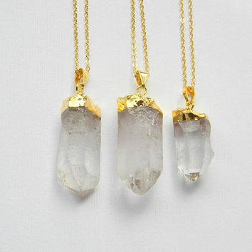 Crystal Point Necklace - Quartz Crystal Necklace - Gold Necklace - Bohemian Necklace - Gift - OOAK