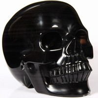 "HUGE 5.2"" Rainbow Obsidian Carved Crystal Skull, Realistic"