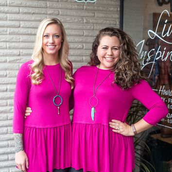 Hot Pink 3/4 Sleeve Peplum Top