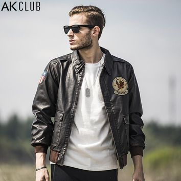 Men PU Jacket Vintage Military Style Jacket Flying Tigers Embroidery Bomber Jacket Men Flight Jacket