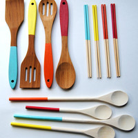 Housewarming Set - Dipped Chopsticks, Cooking Spoons, Bamboo Servers in Hot Air Balloon - Blue, Yellow, Orange, Red