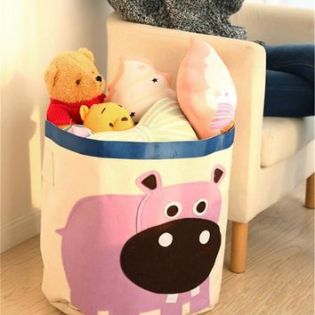 Cute Toy Storage Children Organizer Folding Large Laundry Basket Admission Package Toy Storage Pouch Clothing Cotton Storage