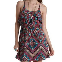 Multi Printed Tulip Flounce Dress by Charlotte Russe