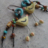 RESERVED Bird Whimsy ... Ceramic, Lampwork and Copper Wire-Wrapped Whimsical, Boho, Woodland Earrings