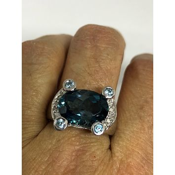 Vintage genuine London blue topaz 925 sterling silver Ring