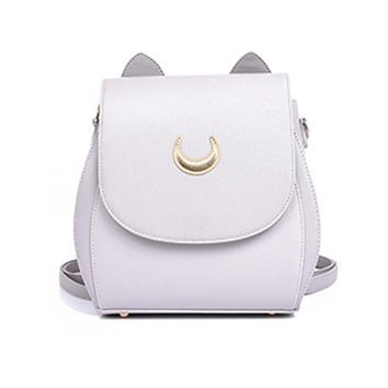 New Sailor Moon Black PU Leather Backpacks School Bags For Teenagers Women Shoulders Rucksack Fashion Casual Travel Bags