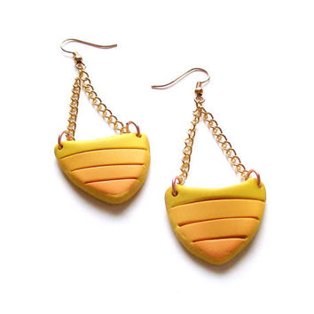Polymer clay asymmetrical fashion earrings yellow orange mosaic arrow shaped geometrical dangle earrings