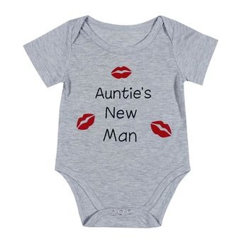 Funny Aunties New Man Baby Boy Girl Clothes Tiny Cottons Gray Short Sleeve Baby Bodysuit Girls Boys Jumpsuit Baby Onesuit