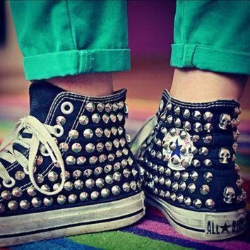 CREYON studded converse silver rivet studs with converse high top by customduo on etsy