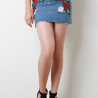 High Waisted Floral Applique Raw Cut Mini Denim Skirt
