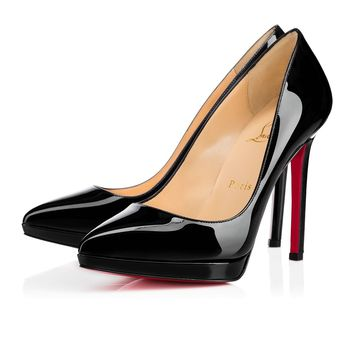 Cl Christian Louboutin Pigalle Plato Black Patent Leather 120mm Stiletto Heel Classic - Best Online Sale