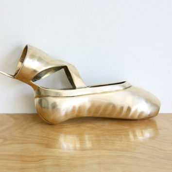 Vintage Brass Ballerina Pointe Shoe Wall Hanging by estateeclectic