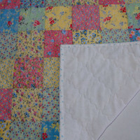 Quilted Patchwork Table Runner Topper Cottage Chic Pastel Flowers