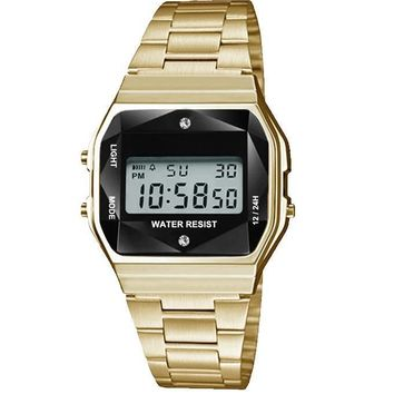 Gold Sports Metal Band Watch with Gold Metal Case and Black Crystal Cut LCD Display