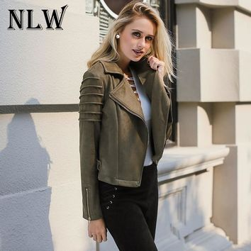 Trendy NLW Casual Suede Leather Women Jacket Ruffle Long Sleeve Short Coats 2018 Spring Female Fuax Coat Outerwear Crop Top AT_94_13