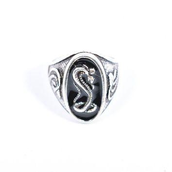 Vintage Native American Style Cobra Snake inlay Mens Ring