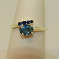 New .56ct Oval Blue Paraiba Tourmaline w Cert Sterling Silver ring 6.5 w accents