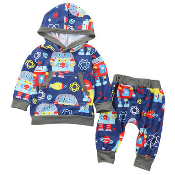 Unisex long sleeve Hooded Top + Pants set baby children clothing