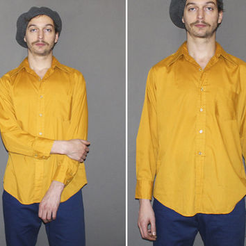 Mens Vintage 60s MUSTARD YELLOW Button Down Shirt / Long Sleeve Shirt / Groovy, Mod Top / Pointy Collar / Med Large
