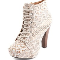 Vintage Lace Lace-Up Heel Bootie: Charlotte Russe