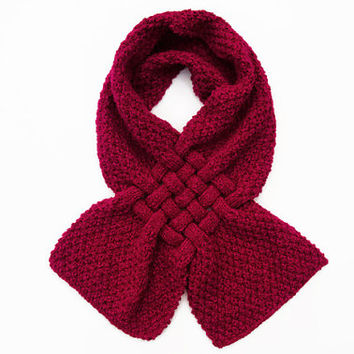 Chunky Knit Scarf - Red Hand Knitted Scarf - Womens Scarves - Woolly Chunky Scarf - Women's Winter Accessories - Handmade Scarf
