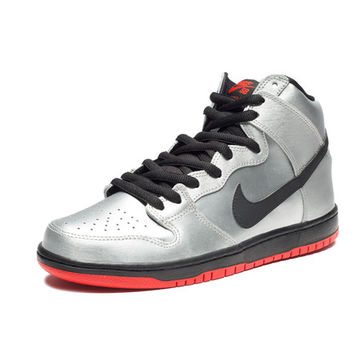 NIKE SB DUNK HIGH PRO - METALLIC SILVER/CHALLENGE RED/BLACK | Undefeated