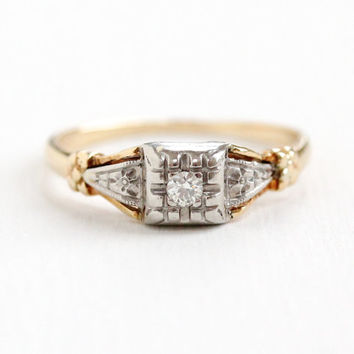 Vintage 14K Yellow & White Gold Solitaire Diamond Ring - Size 4 3/4 1940s Art Deco Fine Engagement Jewelry with Flower Shoulders