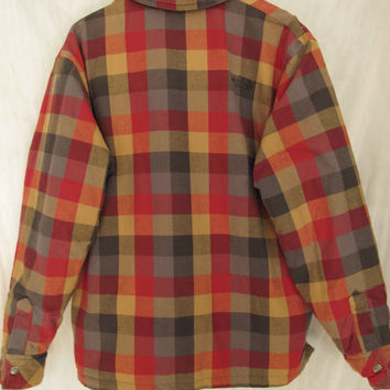 North Face Reversible Jacket Size XL Men's Black Puffer Jacket Plaid Flannel Zip Up 90s Like New Extra Large Hypoallergenic Fill