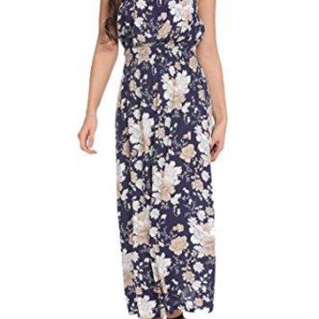 Zeagoo Womens Maternity Strapless Floral Printed Summer Beach Maxi Dress